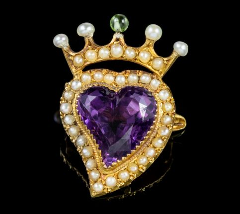 Antique Edwardian Suffragette Amethyst Witches Heart Brooch 15ct Gold Circa 1910 front
