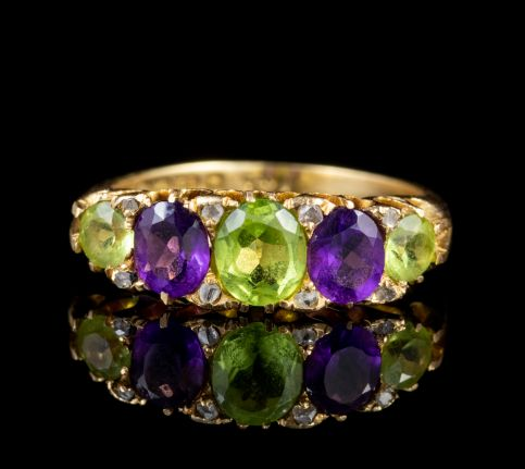 Antique Suffragette Peridot Amethyst Ring Edwardian Dated 1905 front