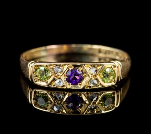 ANTIQUE EDWARDIAN 18CT GOLD SUFFRAGETTE RING CIRCA 1915