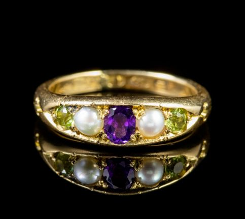 Antique 18ct Gold Edwardian Suffragette Ring Circa 1910 front