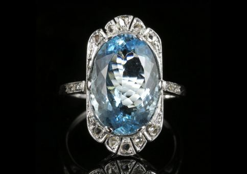 Antique Edwardian Aquamarine Rose Cut Diamond Ring 7.80ct Aquamarine 18ct White Gold front view