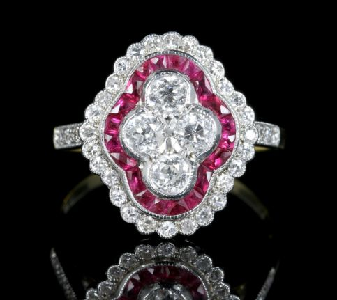 Ruby Diamond Cluster Engagement Ring 18ct White And Yellow Gold front view