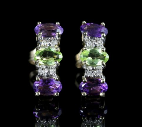Suffragette Earrings Amethyst Peridot Diamond 9ct Gold front view