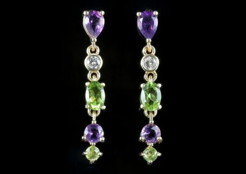 Suffragette Long Earrings 9ct Gold Amethyst Peridot Diamond Front View