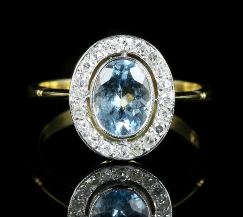 Aquamarine Diamond Cluster Engagement Ring 18ct Gold front View