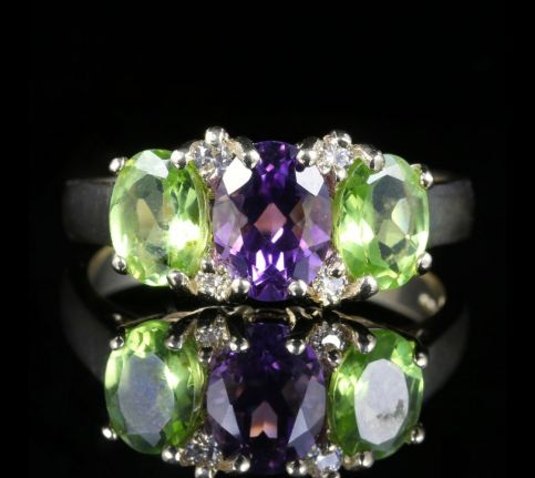 Suffragette Ring 9ct Gold Amethyst Peridot Diamond front view