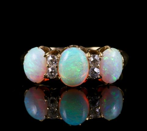 Antique Victorian Opal Diamond Ring 18ct Gold Circa 1880 front view