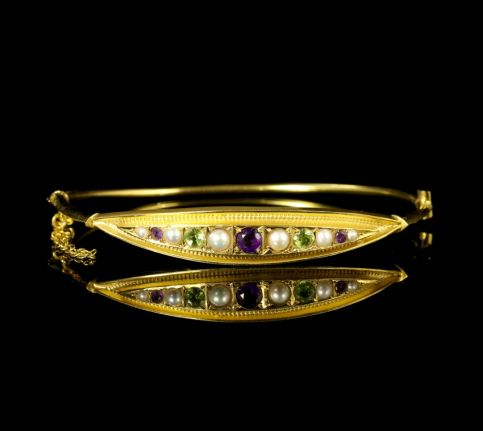 Antique Victorian Suffragette Bangle Amethyst Pearl Peridot front view