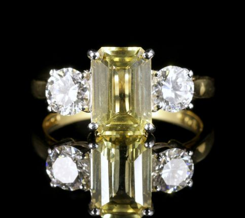 Yellow Sapphire Diamond Ring 18ct Gold Emerald Cut Sapphire front view