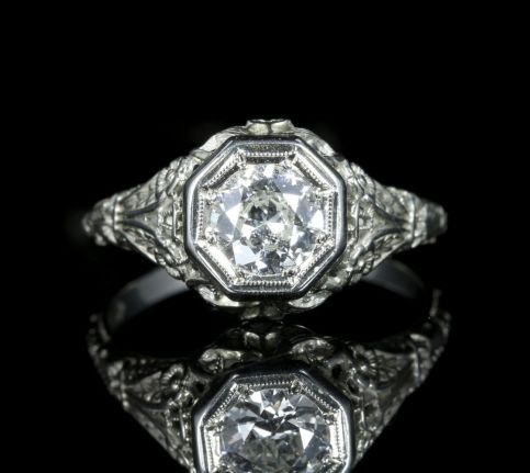 Antique Art Deco Diamond Engagement Ring 18ct White Gold 1.10ct Diamond front view