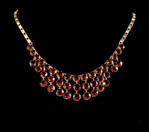 Antique Garnet Necklace 9ct Rose Gold Circa 1900 Front View