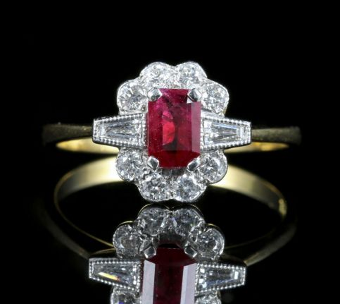 Ruby And Diamond Engagement Ring 18ct Gold 1ct Rubies front view