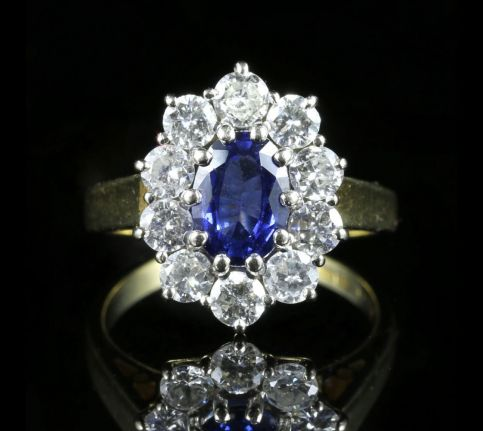 Sapphire Diamond Cluster Engagement Ring 18ct Gold 1.80ct Sapphire front view