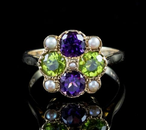 SUFFRAGETTE AMETHYST PERIDOT RING 9CT GOLD DATED 1970 Front