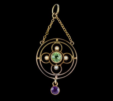 ANTIQUE EDWARDIAN SUFFRAGETTE PERIDOT AMETHYST PENDANT 9CT GOLD CIRCA 1910 front