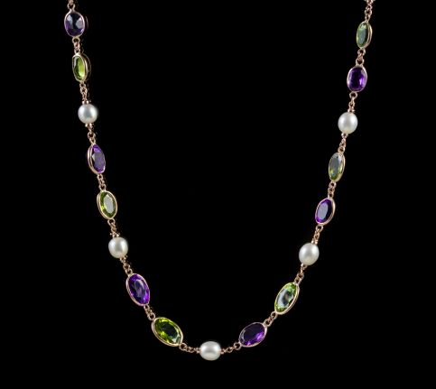 SUFFRAGETTE PERIDOT AMETHYST PEARL NECKLACE 9CT ROSE GOLD  front