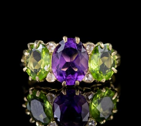 ANTIQUE EDWARDIAN SUFFRAGETTE AMETHYST DIAMOND PERIDOT RING CIRCA 1910 front
