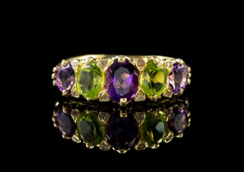 ANTIQUE EDWARDIAN SUFFRAGETTE RING AMETHYST 18CT GOLD CIRCA 1910 Front