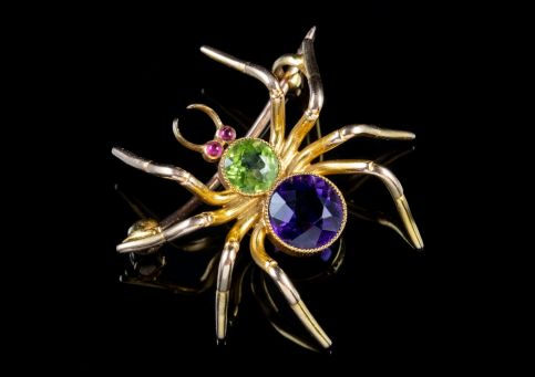 ANTIQUE EDWARDIAN 18CT GOLD SUFFRAGETTE SPIDER BROOCH CIRCA 1915 main