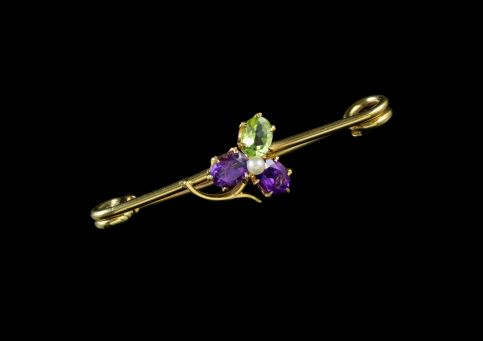 ANTIQUE SUFFRAGETTE CLOVER BROOCH 18CT GOLD PIN EDWARDIAN CIRCA 1910 front