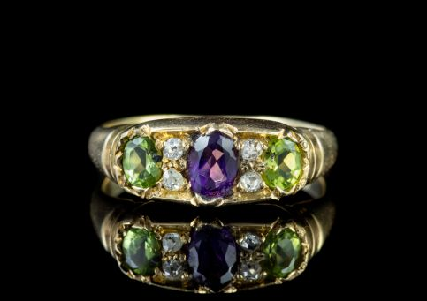 ANTIQUE EDWARDIAN SUFFRAGETTE 18CT GOLD RING DATED 1905 front