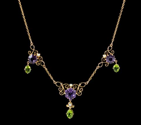 ANTIQUE EDWARDIAN SUFFRAGETTE AMETHYST PERIDOT NECKLACE 9CT GOLD CIRCA 1910 front