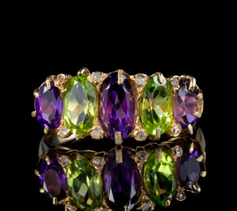 ANTIQUE AMETHYST DIAMOND PERIDOT SUFFRAGETTE RING 18CT GOLD CIRCA 1910 front