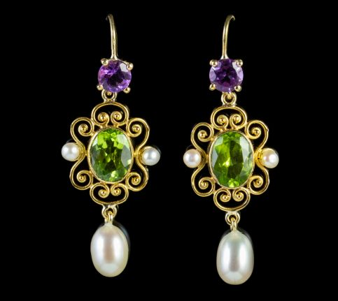 Antique Edwardian Suffragette Peridot Pearl Drop Earrings 18ct Gold Circa 1915 front