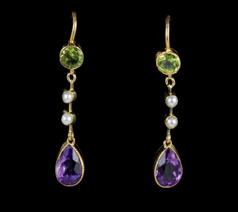 ANTIQUE EDWARDIAN SUFFRAGETTE DROP EARRINGS 18CT GOLD CIRCA 1915 front