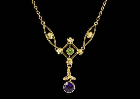 ANTIQUE SUFFRAGETTE PENDANT NECKLACE FLORAL 9CT GOLD EDWARDIAN CIRCA 1905 front
