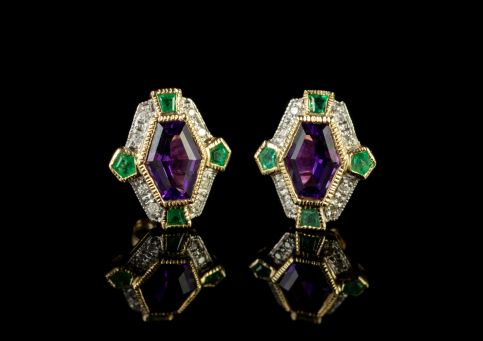 Suffragette Stud Earrings Amethyst Emerald Diamond 9ct Gold front