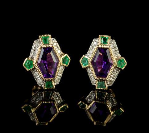 Suffragette Stud Earrings Amethyst Emerald Diamond 9ct Gold front