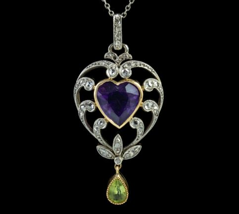 ANTIQUE SUFFRAGETTE HEART PENDANT NECKLACE PLATINUM 14CT GOLD EDWARDIAN CIRCA 1910 front