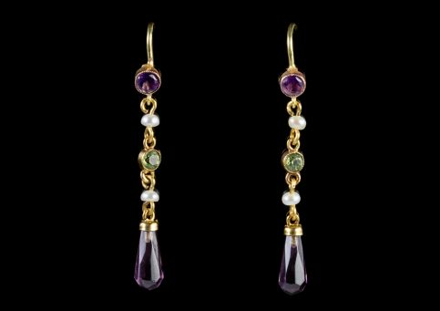 ANTIQUE EDWARDIAN SUFFAGETTE DROP EARRINGS 18CT GOLD CIRCA 1910 front