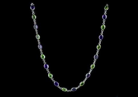 SUFFRAGETTE AMETHYST PERIDOT CHAIN 9CT WHITE GOLD LINK NECKLACE front