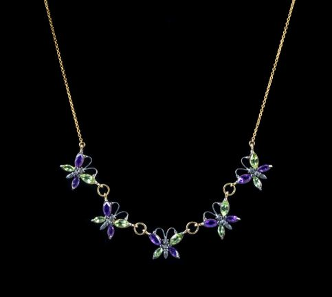 AMETHYST PERIDOT BUTTERFLY NECKLACE 9CT YELLOW GOLD SILVER