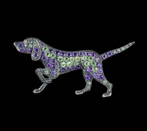 SUFFRAGETTE DOG BROOCH AMETHYST PERIDOT 18CT GOLD ON SILVER
