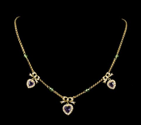 ANTIQUE EDWARDIAN SUFFRAGETTE NECKLACE AMETHYST HEART DROPPERS 18CT GOLD CIRCA 1910 neck