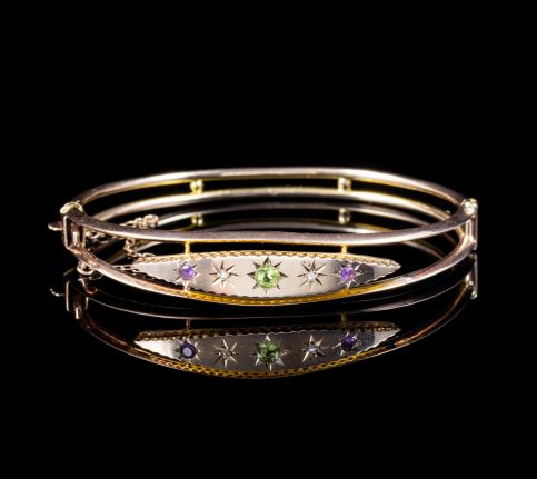 ANTIQUE EDWARDIAN SUFFRAGETTE 9CT GOLD BANGLE CIRCA 1910 front