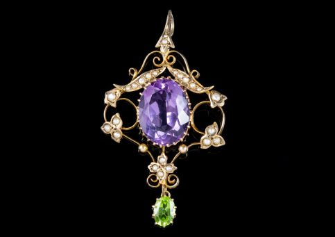 ANTIQUE EDWARDIAN SUFFRAGETTE PENDANT 8CT AMETHYST 9CT GOLD CIRCA 1910 front