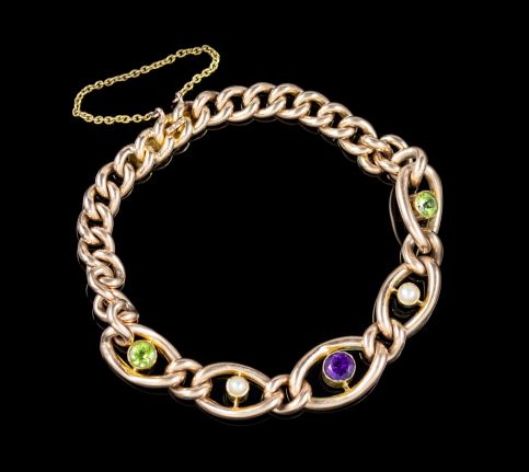 ANTIQUE SUFFRAGETTE CHAIN LINK BRACELET 15CT GOLD VICTORIAN CIRCA 1900 front