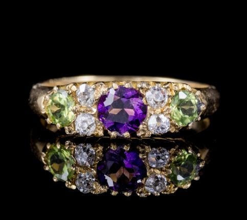 ANTIQUE 18CT GOLD EDWARDIAN SUFFRAGETTE RING AMETHYST PERIDOT DIAMOND DATED 1912 FRONT