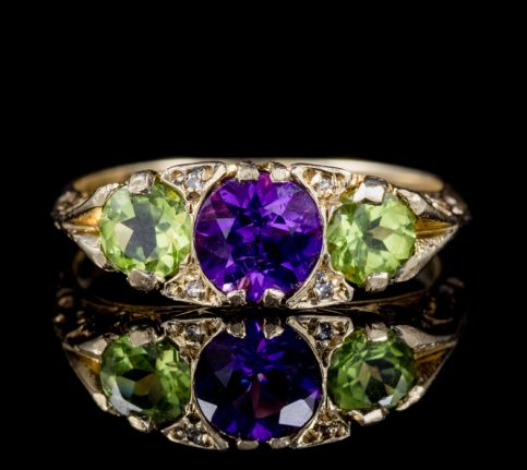 ANTIQUE SUFFRAGETTE PERIDOT AMETHYST DIAMOND RING VICTORIAN DATED 1902 front