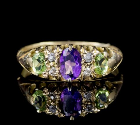 ANTIQUE VICTORIAN DIAMOND AMETHYST PERIDOT SUFFRAGETTE RING 18CT GOLD CIRCA 1900 front