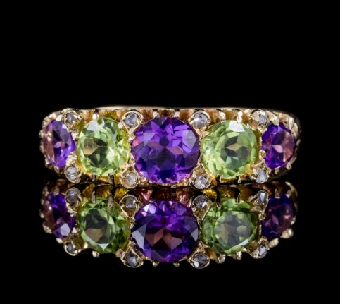 ANTIQUE SUFFRAGETTE RING AMETHYST PERIDOT DIAMOND 18CT GOLD DATED 1918 front