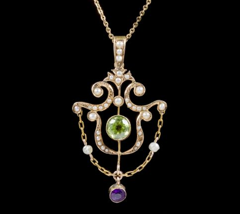 ANTIQUE SUFFRAGETTE PENDANT NECKLACE EDWARDIAN CIRCA 1910 front