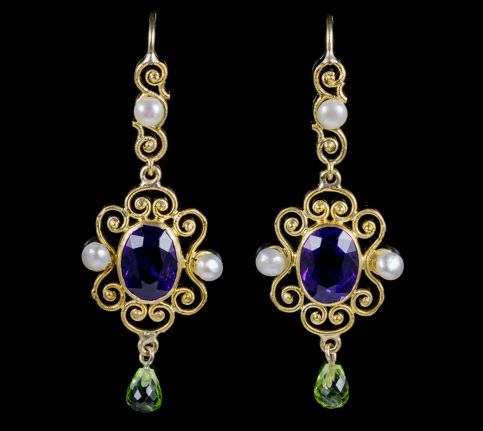 ANTIQUE VICTORIAN AMETHYST SUFFRAGETTE DROP EARRINGS 15CT GOLD CIRCA 1900 front