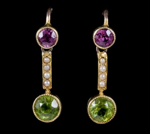 ANTIQUE VICTORIAN SUFFRAGETTE EARRINGS PERIDOT AMETHYST PEARL 18CT GOLD CIRCA 1900 front