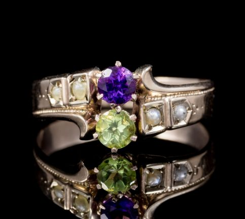 ANTIQUE VICTORIAN AMETHYST PEARL PERIDOT SUFFRAGETTE RING 18CT GOLD CIRCA 1900 front