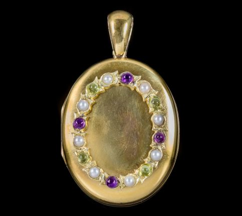 ANTIQUE VICTORIAN SUFFRAGETTE LOCKET 15CT GOLD GEMSTONE WREATH CIRCA 1900 FRONT